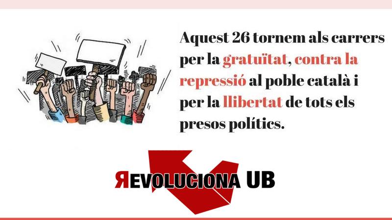 Aquest 26 lluitem contra la repressió, per la llibertat dels presos polítics i per la gratuïtat