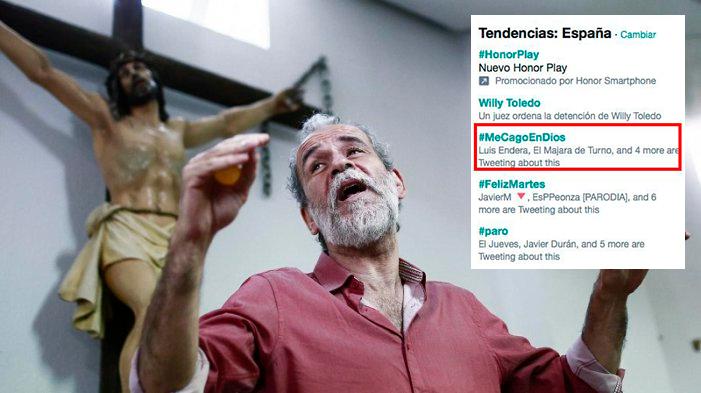 #MeCagoEnDios es fa viral contra l'ordre de detenció a Willy Toledo