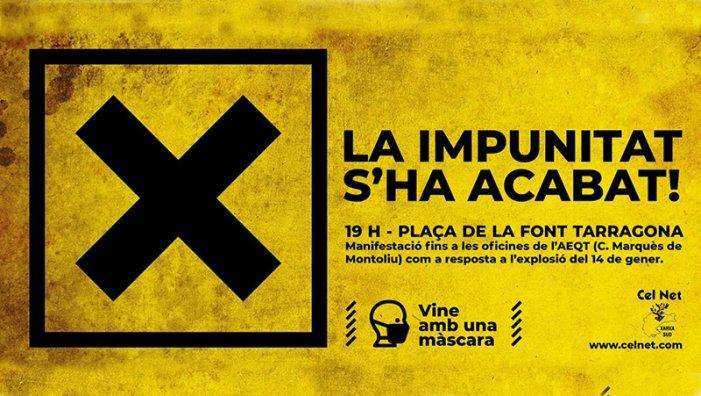 """Protestes convocades després de l'explosió a Tarragona: """"La impunitat s'ha acabat"""""""