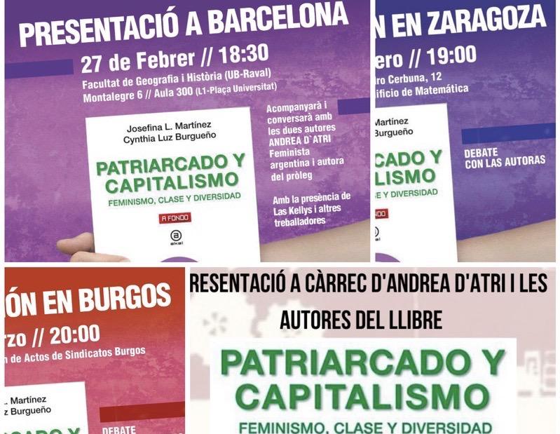 """Presentacions del llibre """"Patriarcado y Capitalismo' a Barcelona, Burgos, Saragossa i Madrid"""
