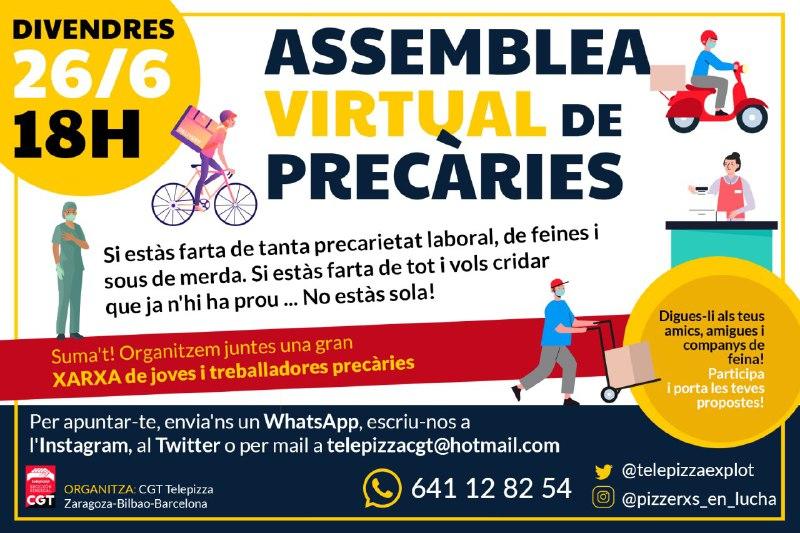 Farta de tanta precarietat? Organitza't! Aquest 26 de juny participa a la primera assemblea virtual de joves i precaris