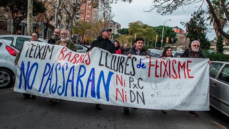 """""""Per uns barris lliures de feixisme"""" manifestació antifeixista a Barcelona"""