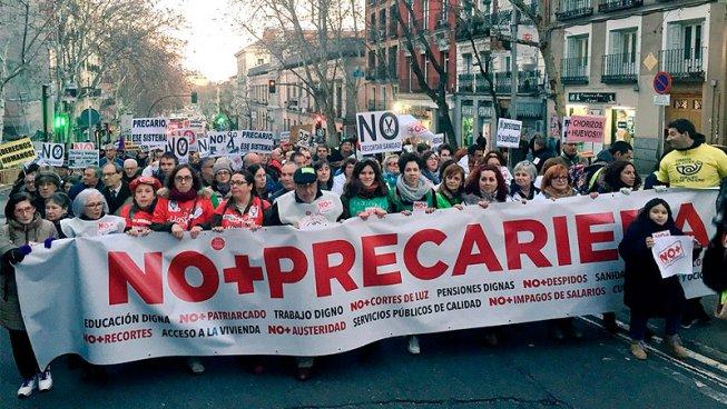 """Protestes per """"No+Precarietat"""" en 33 ciutats de l'Estat espanyol"""